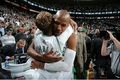 Ray's mom (Flo) hugging him for his 3 point record 2,561  - ray-allen photo