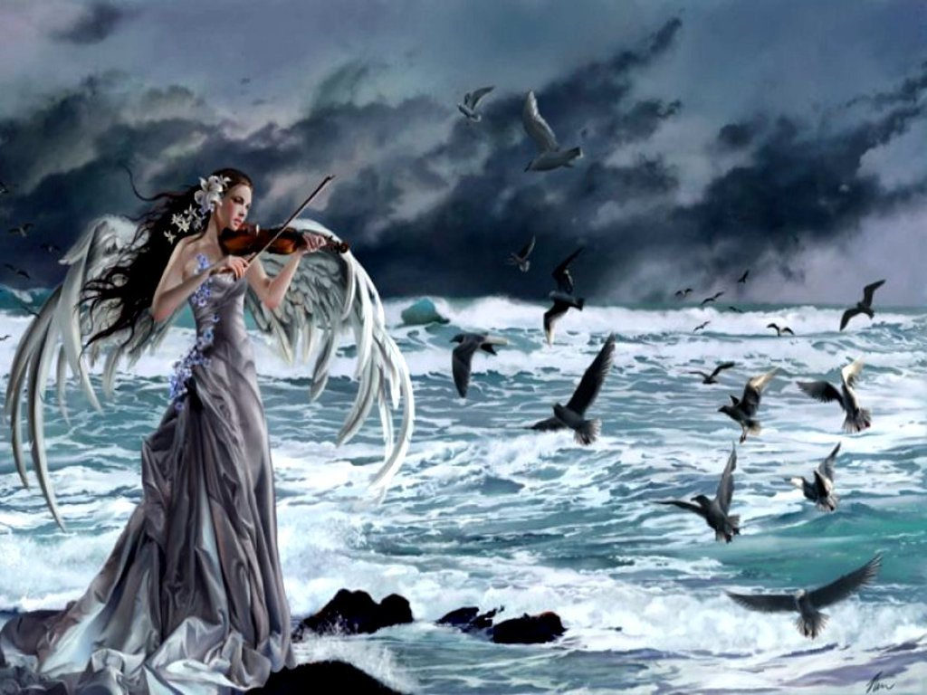 Sad song - Fantasy Wal... Gothic Violin Wallpaper