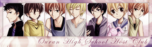ouran high school host club wallpaper possibly containing a portrait called ohshc fan art