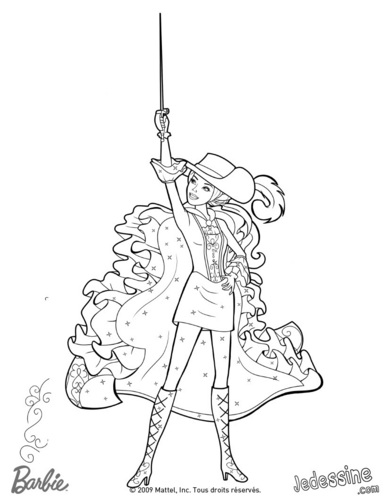 Aramina as musketeer- coloring page