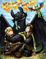 Astrid,toothless and Hiccup