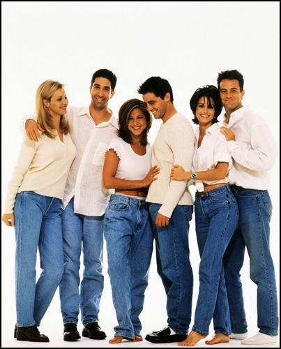télévision fond d'écran containing a jean and a pantleg, pantalon called Friends Cast