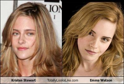 Harry Potter Vs. Twilight پیپر وال containing a portrait and attractiveness called Kristen Stewart looks totally like.....Emma Watson?!
