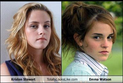 Harry Potter Vs. Twilight wolpeyper with a portrait called Kristen Stewart looks totally like.....Emma Watson?!