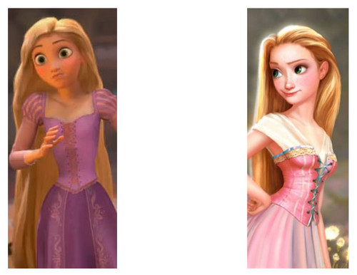 Tangled achtergrond with a avondeten, diner dress, a gown, and a bridesmaid called Old version of Rapunzel vs newer version(Tangled/Rapunzel unbraided)
