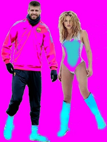 Shakira and Piqué: their clothes must colours harmonize !