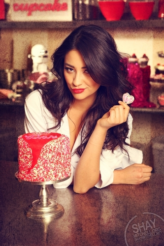 Shay Mitchell wallpaper probably containing a gumdrop, a bouquet, and a frosted layer cake titled Shay<3