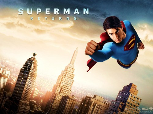 Superman wallpaper with a business district called Superman Returns