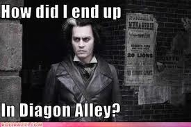 sweeny why is he in diagon ally?