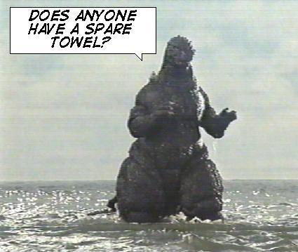 Godzilla needs a towel for his pool time.
