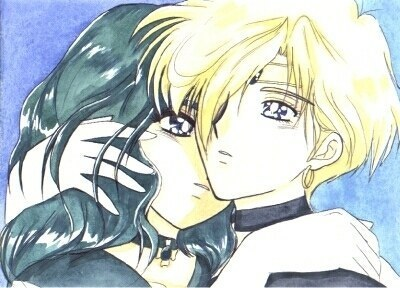 Sailor Uranus and Sailor Neptune karatasi la kupamba ukuta with anime titled uranus and neptune
