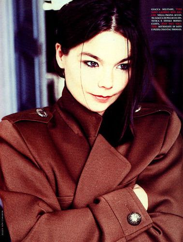 Björk wallpaper with a trench coat and a pea jacket entitled Björk