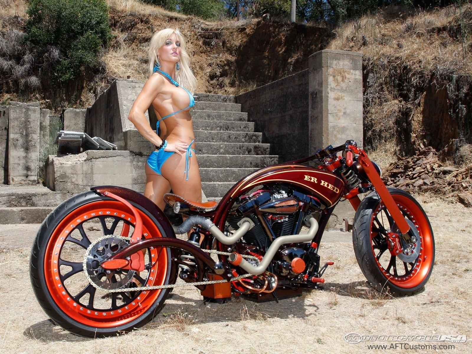 Custom chopper motorcycles and girls
