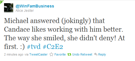 Candice likes working with Michael better? - tyler-and-caroline Photo
