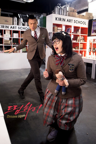 Dream High wallpaper containing a street, a business suit, and a sign titled Dream high cast