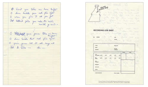 Fat Bottomed Girls - Freddie Mercury hand-written lyrics