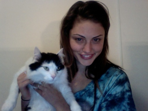 Phoebe Tonkin with her cat