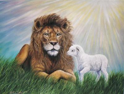 God-The creator kertas dinding entitled The lion and the kambing, daging biri-biri