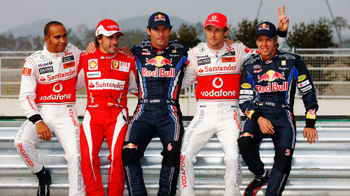 frm left hamilton,alonso,webber,button and vettel