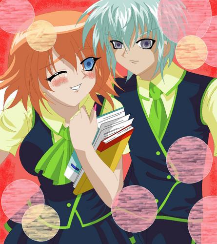 school girl mira and school boy ace