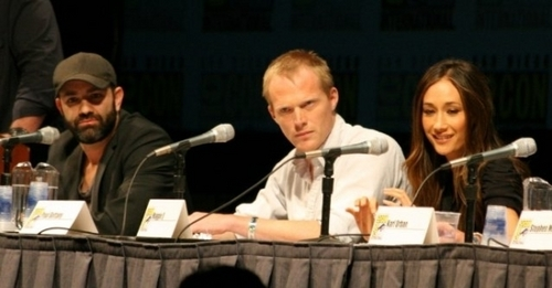 (L to R) Scott Charles Stewart (Director), Paul Bettany and Maggie Q at Comic-Con.