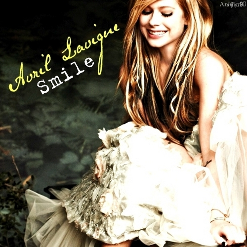 Anichu90 wallpaper probably containing a dinner dress and an abattoir titled Avril Lavigne - Smile [My FanMade Single Cover]