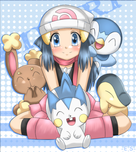 Dawn with her Pokemon