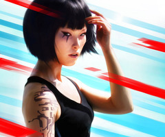 Mirror's Edge wallpaper probably with a leotard entitled Faith Background Tile