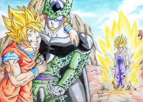 Dragon Ball Z Hintergrund containing Anime titled Goku, Cell, and Gohan