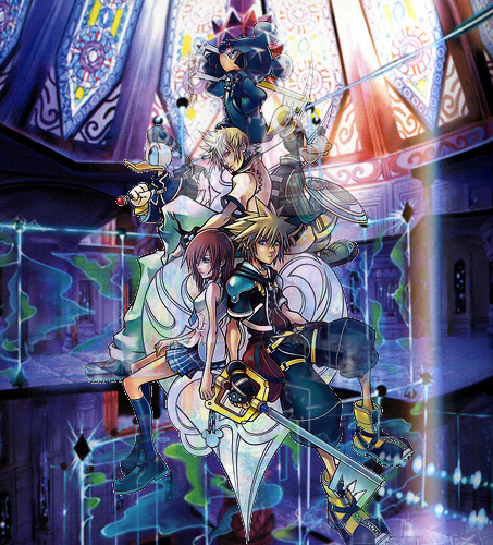 Kingdom Hearts 2 fond d'écran with a stained glass window and animé called Kingdom Hearts 2