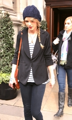Leaving her hotel in London, England