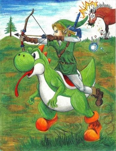 Link rides Yoshi   LOL