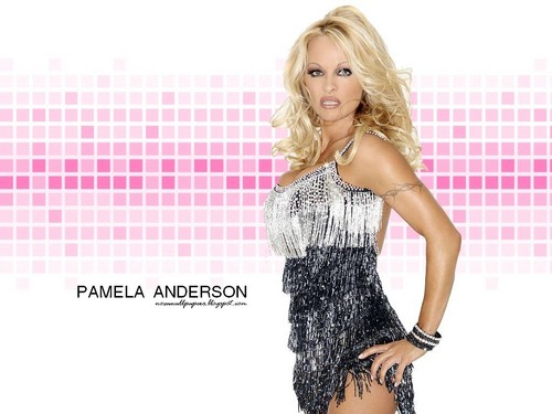 Pamela Anderson wallpaper possibly containing a cocktail dress, a dinner dress, and a portrait titled Pamela Anderson