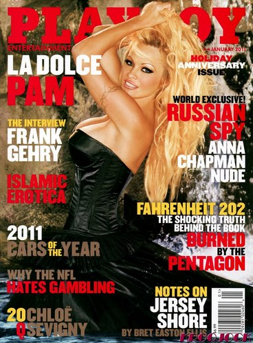 Pamela Anderson wallpaper probably containing a portrait and anime entitled Playboy  Cover Jan 2011