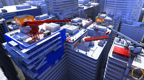 Mirror's Edge wallpaper possibly containing a car ferry and a business district called Training Grounds