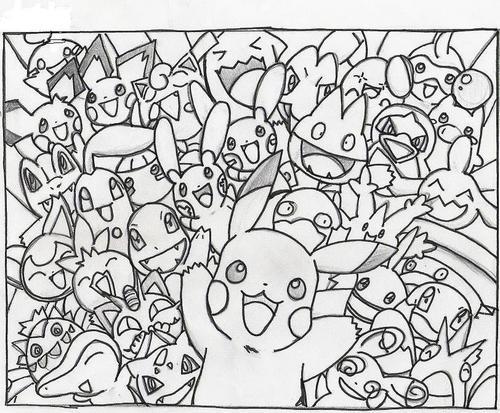 Pokémon wolpeyper entitled pOKEMON dRAWINGS