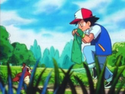 Ash trying to catch Pidgey