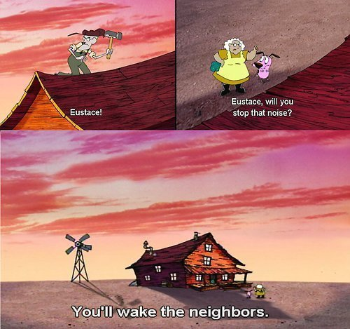 Courage the Cowardly Dog Обои possibly with a sign and a улица, уличный called Courage the Cowardly Dog