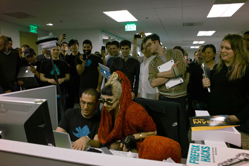 Gaga Visits Twitter Offices in San Francisco