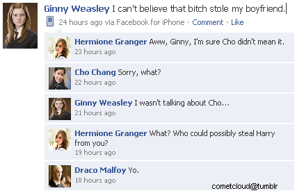 Harry Potter Vs. Twilight wallpaper titled Ginny Weasley Facebook