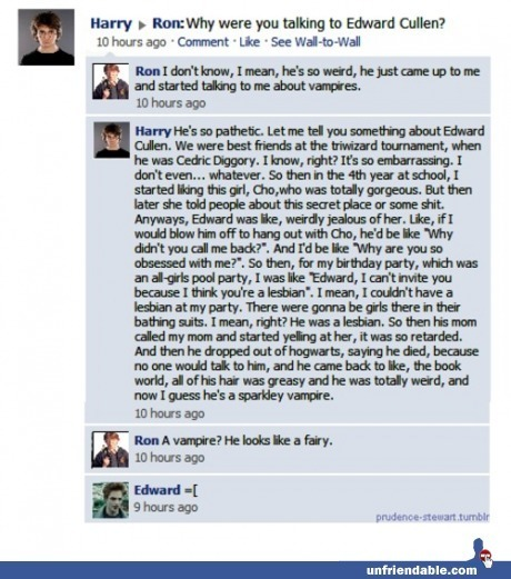 Harry Potter and Edward Cullen on Facebook