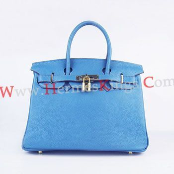 Hermes Birkin 30cm Togo leather Handbags blue golden