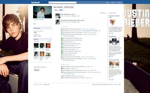 Justin Bieber Facebook Layout