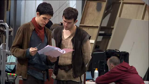 Merlin cast on set