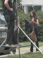 Paul and Nina on set