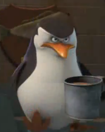 Sinister penguin.... with a coffee mug...