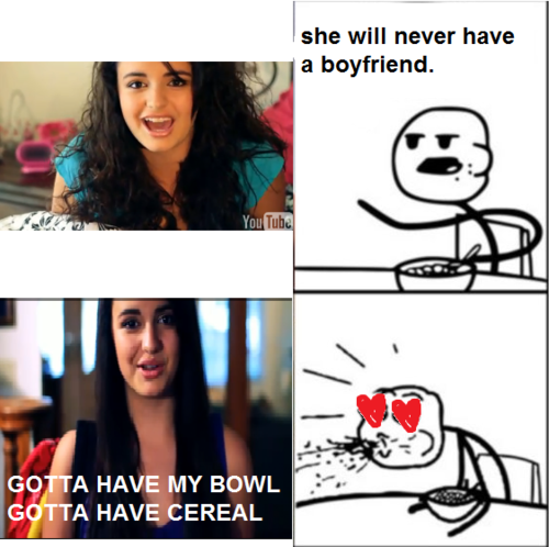 Cereal Guy wallpaper possibly containing a portrait entitled Rebecca Black & Cereal Guy
