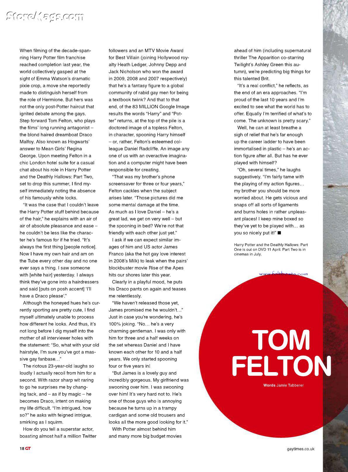 "Tom Felton ""Gay Times"" Magazine"