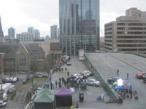Psych wallpaper containing a business district, a street, and a skyscraper called 3/29/2011 set photos