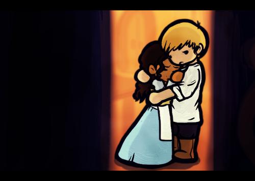 Arthur and Gwen in cartoon *the hug*